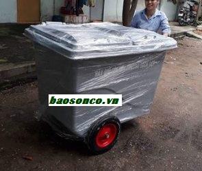 Xe rác 450 lít composite 3 bánh xe