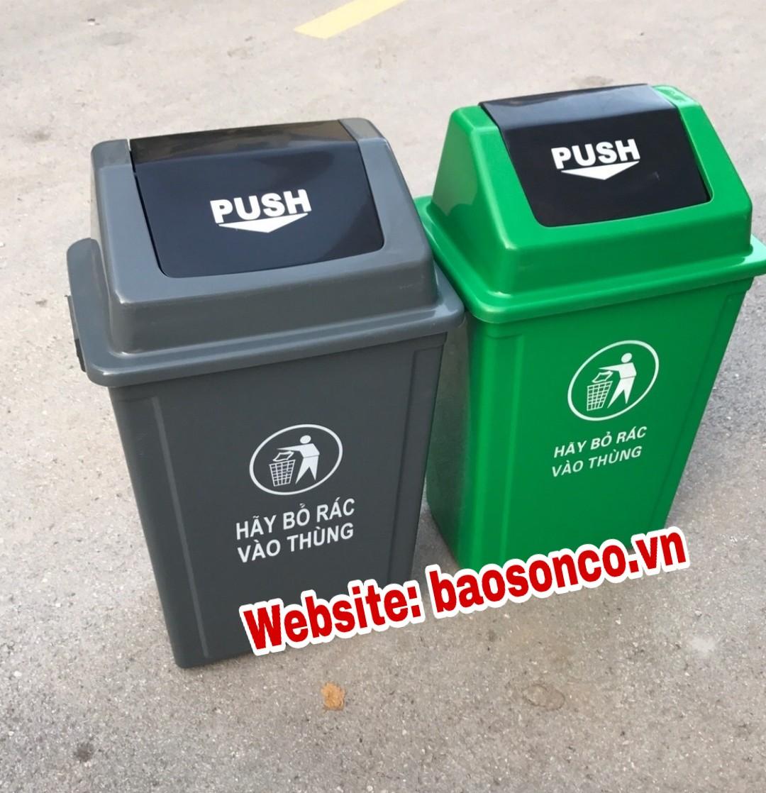 Thùng rác 60 lít nắp lật xanh lá