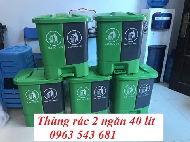 Thùng phân loại rác tại nguồn 2 ngăn 40 lít