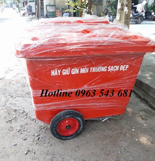Xe thu gom rác 660 lít 4 bánh xe nhựa composite