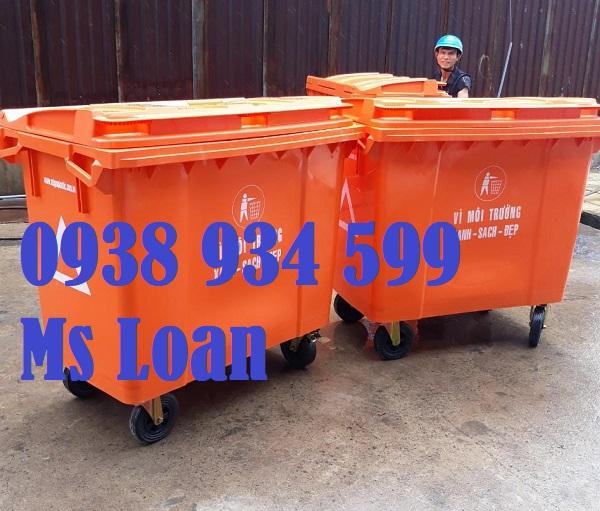 Xe thu gom rác nhựa 660 lít