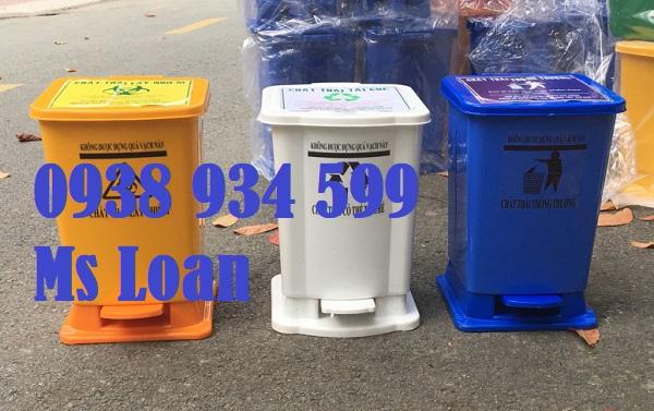 Thùng rác 15 lít đạp chân
