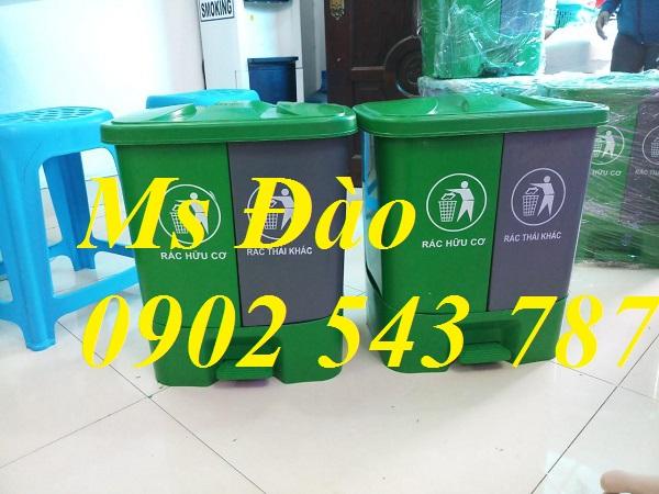 thùng rác nhựa 2 ngăn 40 lít