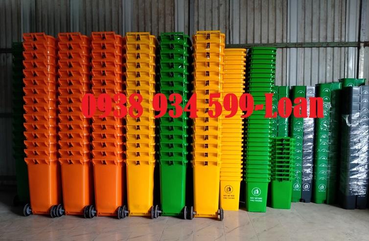 Thùng rác y tế 240 lít màu vàng