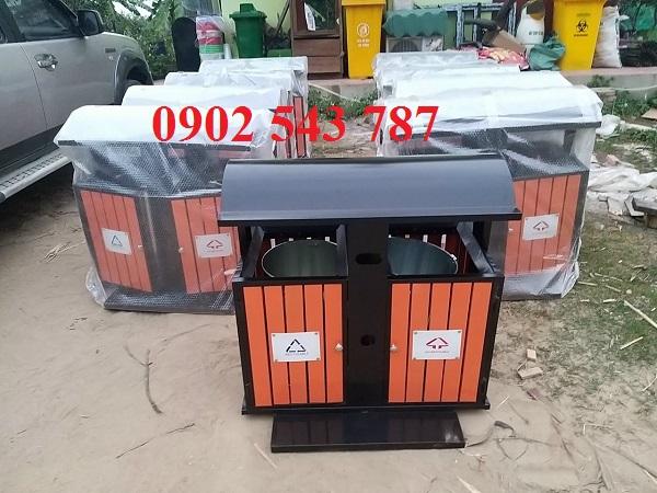 thùng rác 2 ngăn giả gỗ