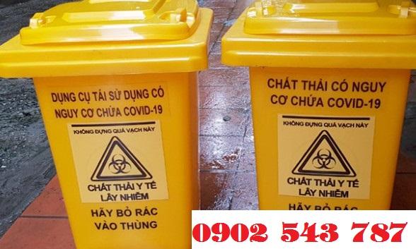 Thùng rác 120 lít đựng chất thải có nguy cơ chứa Covid 19