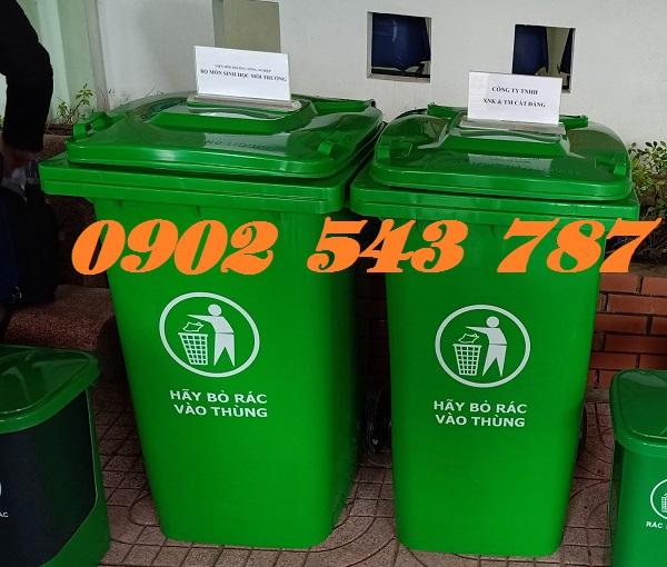 Thùng rác công cộng 240 lít màu xanh