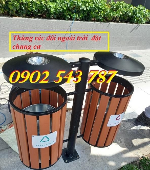 Thùng rác đôi ngoài trời dùng cho khu chung cư