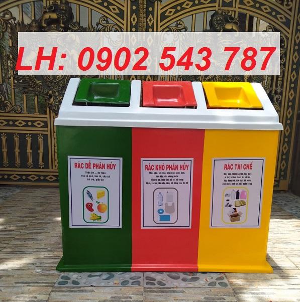 Thùng rác 3 ngăn nhựa composite