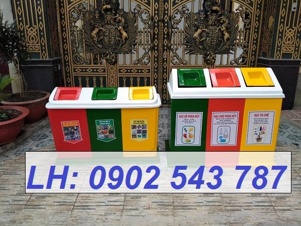 Thùng phân loại rác thải 3 ngăn