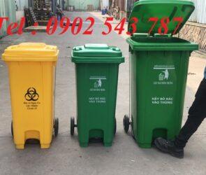 Thùng rác nhựa 240 lít công cộng đạp chân